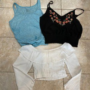 3 Crop Tops - Size Small